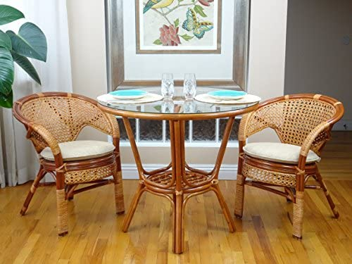 3 Pcs Pelangi Rattan Wicker Dining Set Round Table Glass Top 2 Arm Chairs. Colonial Color