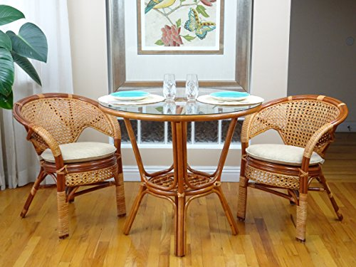 3 Pcs Pelangi Rattan Wicker Dining Set Round Table Glass Top +2 Arm Chairs. Colonial Color