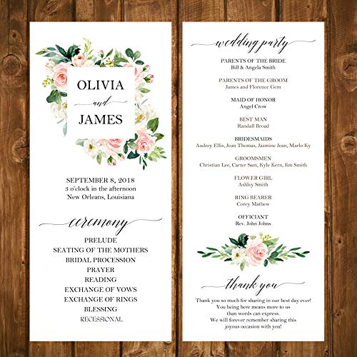 (Wedding Program Elegant Blush Floral Collection with ANY Wording Printed )