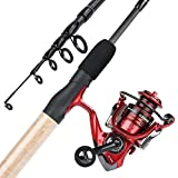 YONGZHI Fishing Rod and Reel Combos,2-Piece Carbon Fiber Protable Fishing Poles with Spinning Reels for Bass,Trout