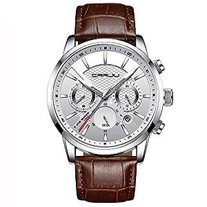 Montres Hommes Militaires Sport Étanche Chronographe Lumineuse bracelet en Cuir, habillé, affaires, tendance. Date…