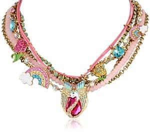 "Betsey Johnson ""Fairyland"" Swan and Rainbow Multi-Row Necklace, 20"""
