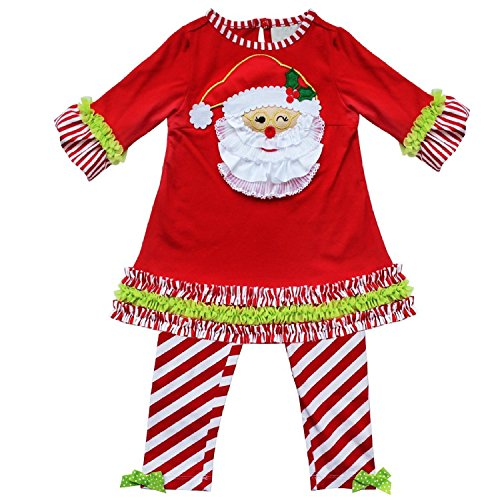 Kid Girls Candy Cane Holiday Dress Christmas Outfit Leggings (Candy Cane Outfit)