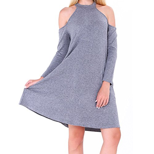 Round Bodycon4U Pocket Dress Loose Light Sleeve Women's Shirt Long Neck Gray T Shoulder SSfqEr