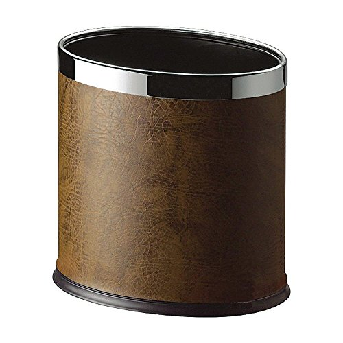 Extravagance Gift Basket - Luxehome Overlap Open Top Oval Leather Metal Trash Can, Capacity 8 Liter/2 Gal (Coffee)