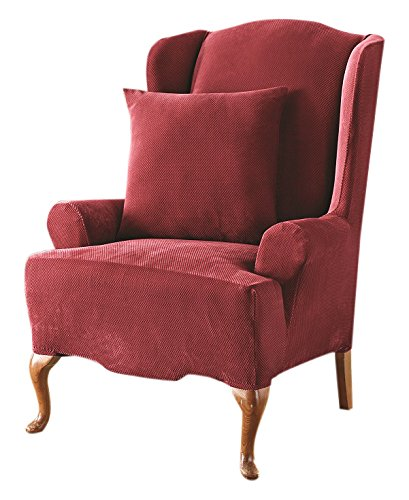 Sure Fit Stretch Pique   Reclining Wing Chair Slipcover   Garnet (SF37312)