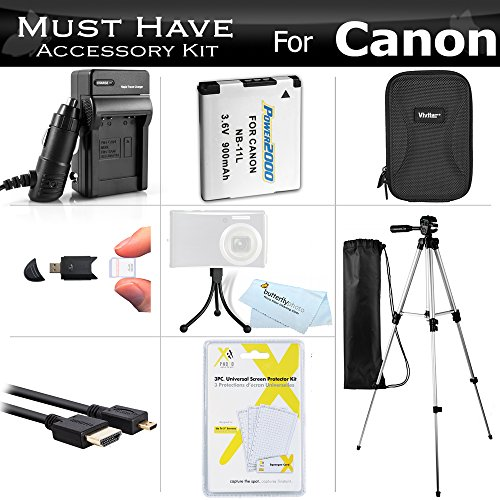 Essential Accessories Kit For Canon PowerShot ELPH 340 HS, ELPH 360 HS Digital Camera Includes Extended Replacement (900maH) NB-11L Battery + AC/DC Charger + Micro HDMI Cable + Case + 50 Tripod + More