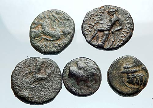 400 GR AUTHENTIC Ancient 400BC-250AD GREEK - 5 COINS Gro coin Good Uncertified