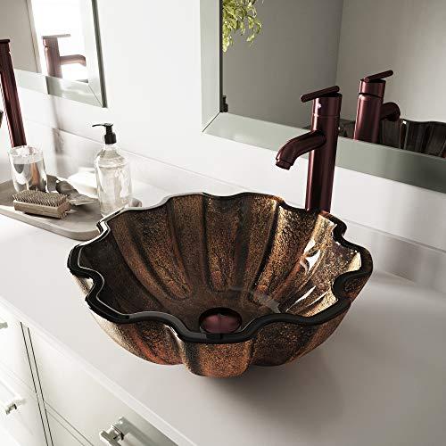 VIGO Walnut Shell Glass Vessel Bathroom Sink ()