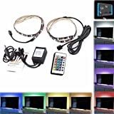 KingFurt Bias Lighting TV Backlight for HDTV LED Strips Lights with 24 Key Remote Control, 2 RGB LED Strip Home Multi Color RGB Neon Accent Lighting for Flat Screen TV Accessories, Desktop PC