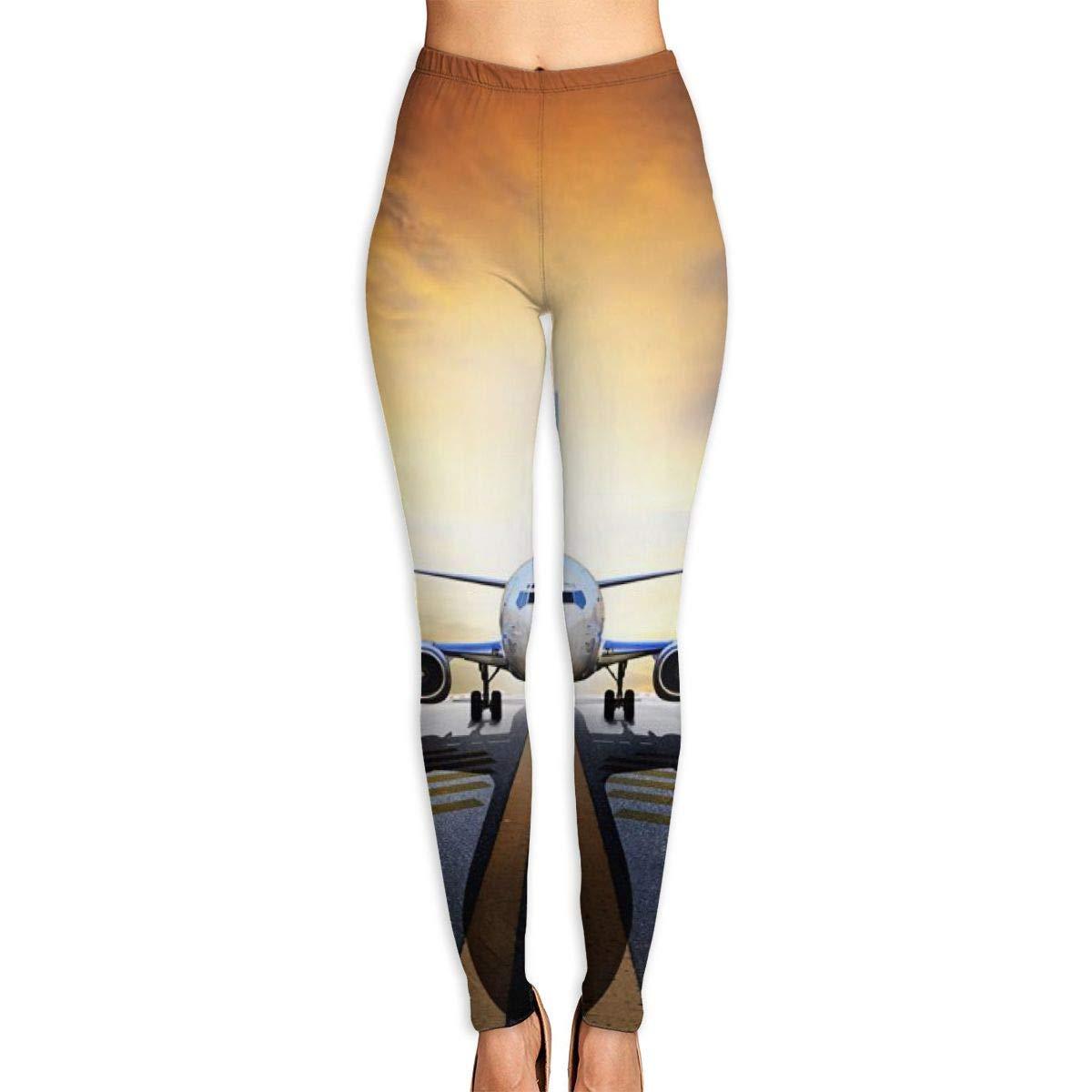 ANTOUZHE Sport Damen Leggings Backpack Airplane Printed Yoga Pants for Women Running Workout Yoga Capris Pants Leggings Graphic Running Clothing