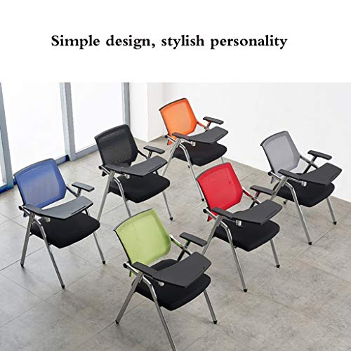 Kontorsträningsstol skrivbräda utbildningsbord student lärande stol träning konferensrum stol student bord och stol stål fötter, vikbar (färg: svart)