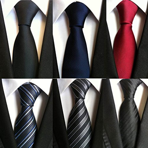 Yingjin Men's Neckties Polyester Silk Ties Skinny Business Wedding Party 6 pcs Pack