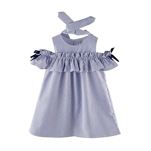 Minisoya 2PCS Toddler Kids Baby Girl Outfit Clothes Ruffle T-Shirt Strapless Summer Stripe Dress+Headband Set (Blue, - Designer Toddler