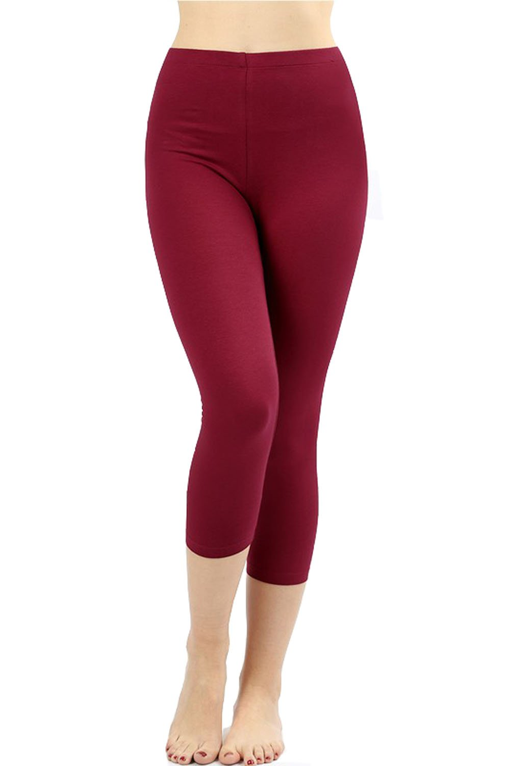 UNU Style Premium Ultra Soft Cotton 15 inch Capri & Regular Capri Leggings (R-Cabernet, Medium)