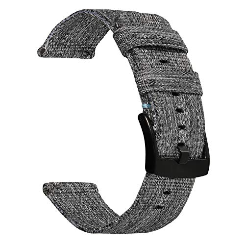 Gear S3 Watchband, TRUMiRR 22mm Quick Release Canvas Nylon Watch Band Stainless Steel Clasp Strap Sports Bracelet Wristband for Samsung Gear S3 Classic/Frontier, Gear 2 Neo Live, Moto 360 2 46mm Men