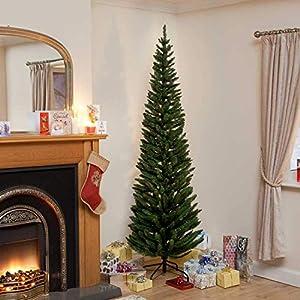 200CM Ambasciatore Albero di Natale floccato Pencil Pine Slim Albero di 200 x 56 centimetri 1 spesavip