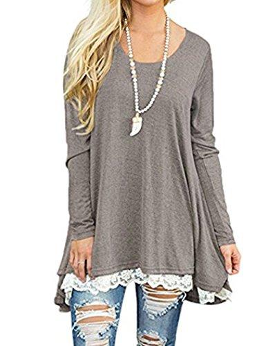 Women's Long Sleeve Loose Lace Stitching Shirt Dress Casual Tunic Tops Blouses M,Khaki