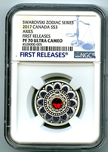 2017 CA CANADA ARIES ZODIAC SERIES FIRST RELEASES SILVER PROOF COIN MADE WITH SWAROVSKI CRYSTAL $3 PF70 - Canada Aries