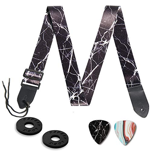 Guitar Strap,Qielizi Guitar Strap with Leather End Length Adjustable 2 Pick Holders & 2 Matching Picks For Electric Guitar, Acoustic Guitar and Bass - Unique Gift For Guitarist(Black Marble)