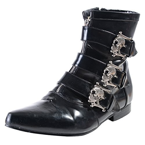 Buckle Boots Skull (Mens Ankle Boot Skull Buckles GOTH style Black Size:)