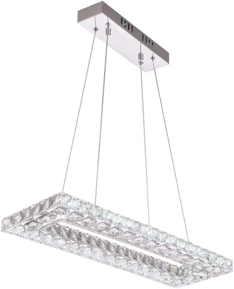 Flashing God Three Sided Crystal Led Dining Chandelier Rectangular Dining Room Pendant Lamp Bedroom Dining Table Ceiling Fixtures Stepless Dimming Amazon Co Uk Lighting