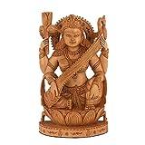 CraftVatika Saraswati Statue - Wooden Statue of Goddess of Knowledge, Music & Art - Sarasvati, Hand Carved - Saraswati Playing the Vina Figurines Sitting on Swan CraftVatika