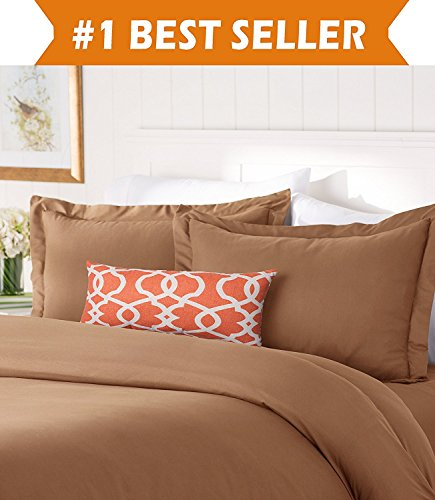 Elegant Comfort #1 Best Bedding Duvet Cover Set! 1500 Thread Count Egyptian Quality Luxurious Silky-Soft WRINKLE FREE 3-Piece Duvet Cover Set, King/Cali King, Mocha Chocolate (Comfort Sets)