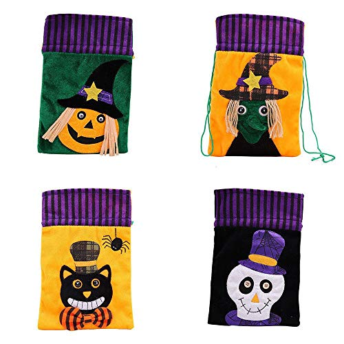 Halloween Drawstring Goody Bag, Non-woven Flannelette Trick or Treat Candy Gift Bags for Kids or Costume Party Favors Supplies, High-end Set of 4