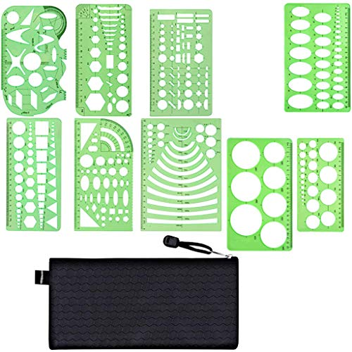 Kasmena 9 Pcs Plastic Geometric Drawings Stencils Measuring Templates Geometric Rulers for Office and School,Planner Painting Drawing,Clear Green Color -