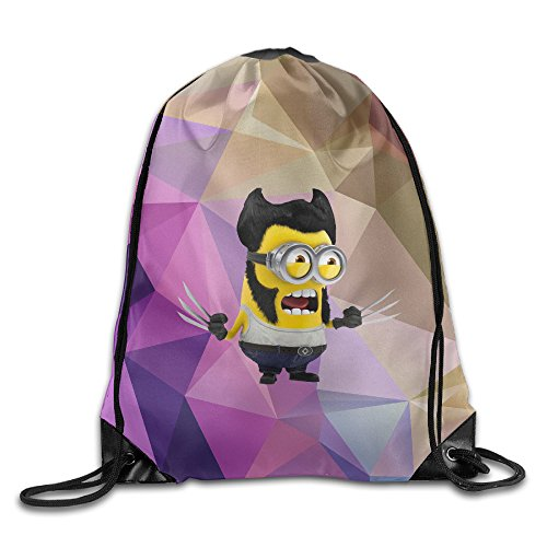 Creative Design Funny Minions X-Men Origins Wolverine Drawstring Backpack Sport Bag For Men And Women