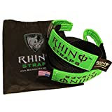 "RHINO USA Recovery Tow Strap 3"" x 20ft - Lab Tested 31,518lb Break Strength - Heavy Duty Draw String bag Included - Triple Reinforced Loop End to Ensure Peace of Mind - Emergency Off Road Towing Rope"