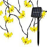Solar Fairy String Lights 30 LED Bat Lights String for Outdoor Patio Garden Halloween String Lights 6M Halloween /Chrismas Decoration (warm white)