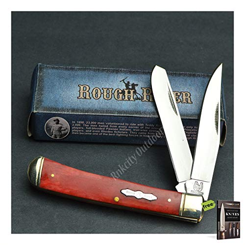 (Rough Rider Folding Pocket Knife 440 Stainless Red Smooth Bone Trapper Pocket Carbon Sharp Blade RR431 New! + Free eBook by SURVIVAL STEEL)