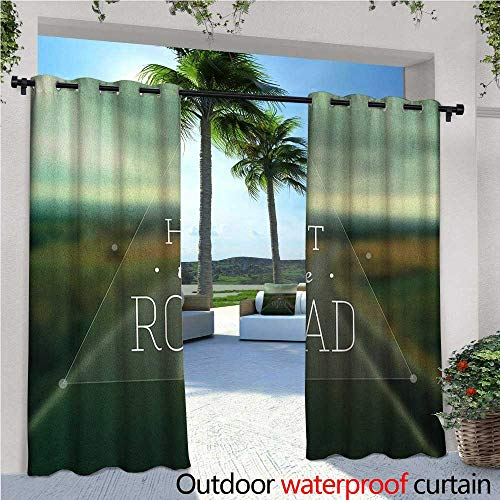 familytaste Adventure Exterior/Outside Curtains Hit The Road Quote Inside a Transparent Triangle with Blurred Highway Background for Patio Light Block Heat Out Water Proof Drape W84 x L108 Multicolor