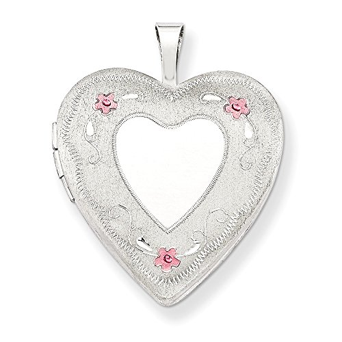 925 Sterling Silver 20mm Enameled Roses Heart Photo Pendant Charm Locket Chain Necklace That Holds Pictures W/chain Fine Jewelry Gifts For Women For Her