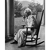 Quality digital print of a vintage photograph - Mark Twain On Porch.Black & White 8x10 inches - Luster Finish