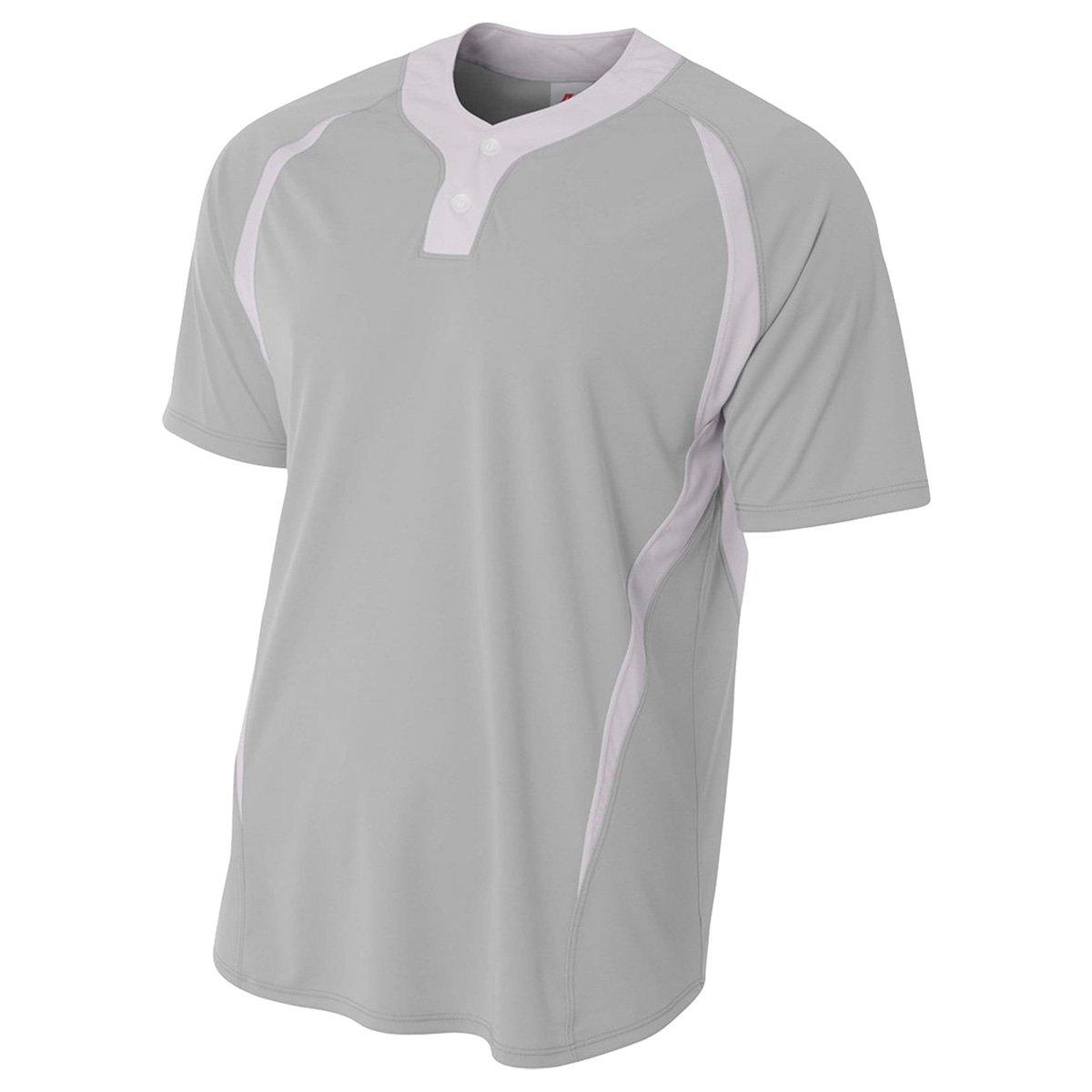 a4メンズ2つボタンカラーブロックBaseball Henleyシャツ B01HTM5M04 Small|シルバー/ホワイト シルバー/ホワイト Small