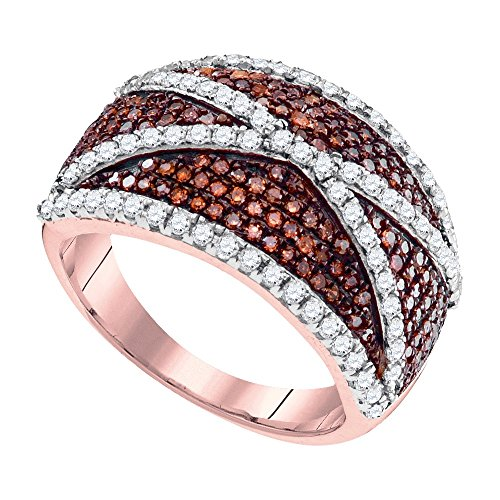 - 10kt Rose Gold Womens Round Red Color Enhanced Diamond Crisscross Stripe Cocktail Ring 1.00 Cttw