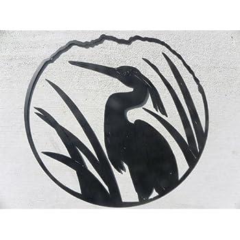 Amazon Com Heron Crane Egret Bird Silhouette Round