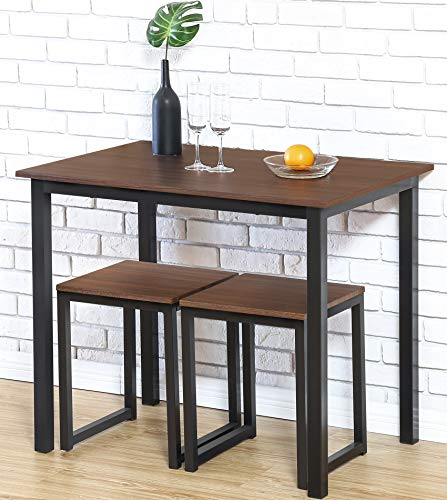 Table Kitchen Tall - Homury Modern Wood 3 Piece Dining Set Studio Collection Soho Dining Table with Two Stools Home Kitchen Breakfast Table,Brown