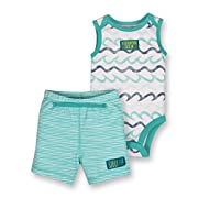 Lamaze Baby Boys Organic 2 Piece Bodysuit and Short Set, Blue, 9M