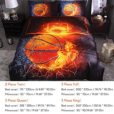 Decdeal Bedding Set, Basketball Pillowcase Bed Sheet 3D Sports Bed Cover Soft and Comfortable, 3-Piece: Home & Kitchen