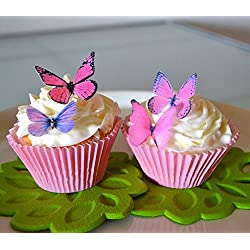 Edible Butterflies© - Small Assorted Pink and Purple Set of 24 - Cake and Cupcake Toppers, Decoration