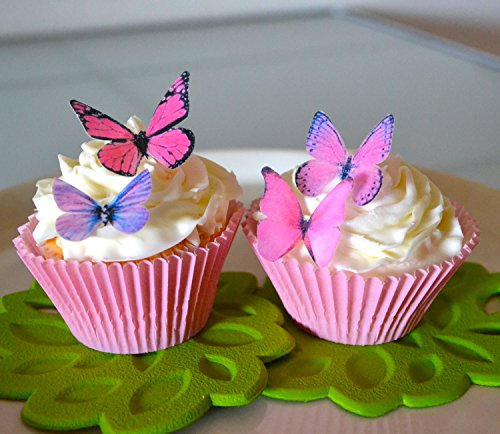 Butterfly Cake Decorating (Edible Butterflies© - Small Assorted Pink and Purple Set of 24 - Cake and Cupcake Toppers, Decoration)