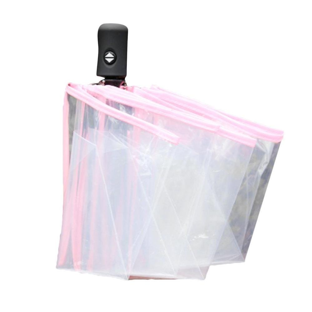 Transparent Full AutomaticThree Folding Umbrella Windproof Rainproof Umbrella for Women Girls (pink)