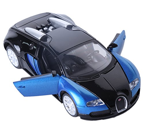 Berry President(TM 1:32 Bugatti Veyron Diecast Scale Model Alloy Supercar Model Vehicle Simulation Toy for Children Electric Pull Back Cars Sound & Light - Birthday (DBlue)