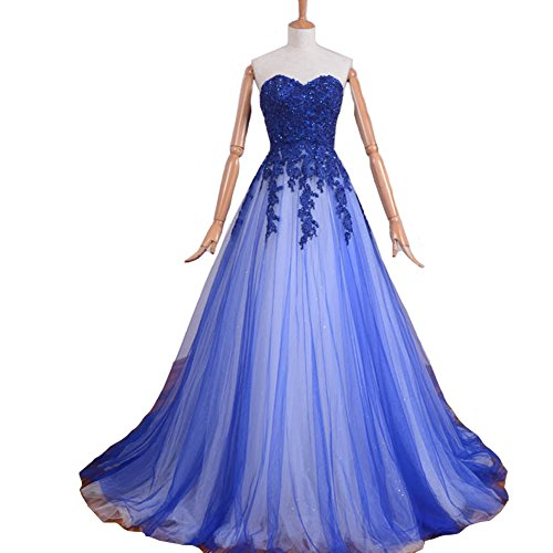 [Kivary Sweetheart Gothic Champagne and Royal Blue Beaded Formal A Line Long Corset Lace Prom Evening Dresses] (Blue Sequin Corset)