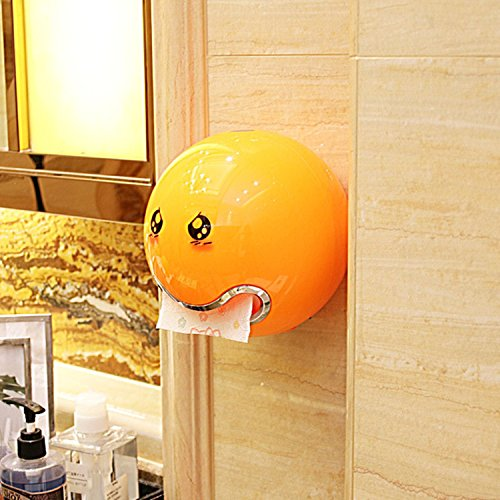 Creative Toilet Roll Paper Box Tissue Boxes Container Waterproof Installation Drilling Or Stick On The Wall Suit For Bathroom Bedroom Living Room Kitchen Etc  Orange