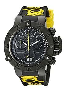 Invicta Men's 10185 Subaqua Noma III Chronograph Black Dial Black and Yellow Silicone Watch